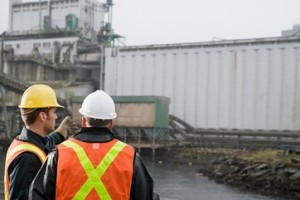Men at grain terminal